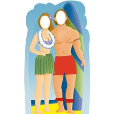 Life-Size Stand-Ins Surfer Couple Holding Surfboard Cardboard Stand-Up