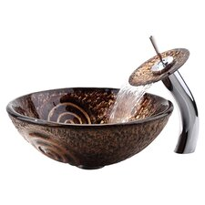 Luna Vessel Bathroom Sink & Waterfall Faucet