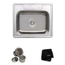 "25"" x 22.4"" Topmount Single Bowl 18 Gauge Kitchen Sink"