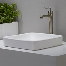 Elavo™ Ceramic Square Semi-Recessed Bathroom Sink with Overflow