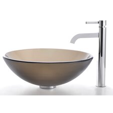 Frosted Brown Glass Vessel Sink and Ramus Faucet