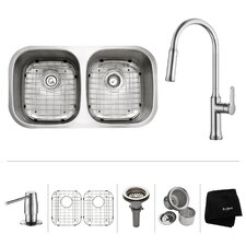 "32"" x 18"" Undermount Double Bowl Kitchen Sink with Faucet"