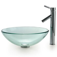 Clear Glass Sink and Sheven Faucet