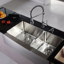 "Kitchen Combo 36"" x 25.5"" Double Bowl Stainless Steel Kitchen Sink with Faucet"
