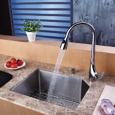 "23"" x 18.75"" Undermount Single Bowl Kitchen Sink with 18.5"" x 9"" Faucet and Soap Dispenser"
