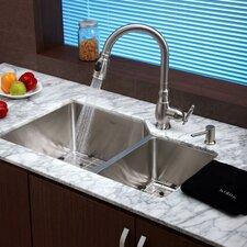"""32"""" x 20"""" 8 Piece Undermount Double Bowl Kitchen Sink Set"""