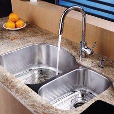 8 Piece Undermount Double Bowl Kitchen Sink Set