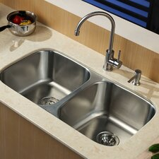 """32.25"""" x 18.5"""" Contemporary Undermount Double Bowl Kitchen Sink with Faucet and Soap Dispenser"""