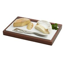 Elan Acacia Cheese Board w/ Ceramic Insert and Knife