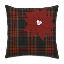 Home for The Holidays Poinsettia Plaid Throw Pillow