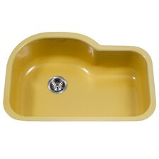 "Porcela 31.26"" x 20.67"" Porcelain Enameled Steel Designer Offset Undermount Single Kitchen Sink"