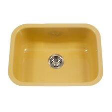"Porcela 22.76"" x 17.4"" Porcelain Enameled Steel Undermount Single Kitchen Sink"
