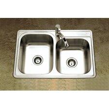 "Glowtone 33"" x 22"" Topmount Double Bowl 20 Gauge Kitchen Sink with StoneGuard Undercoating"