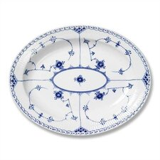 Blue Fluted Half Lace Oval Platter