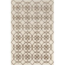 Stella Patterned Contemporary Wool Cream/Brown Area Rug