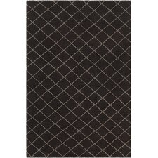 Gaia Patterned Knotted Contemporary Wool Black/Cream Area Rug