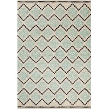 Stella Patterned Contemporary Wool Cream/Aqua Area Rug