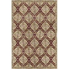 Allie Hand Tufted Wool Cream/Burgundy Area Rug