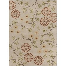 Int Hand Tufted Rectangle Contemporary Cream/Orange Area Rug