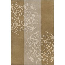 Allie Hand Tufted Wool Brown/Cream Area Rug