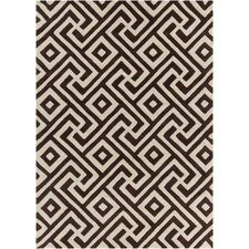 Davin Hand Tufted Rectangle Contemporary Brown/Cream Area Rug