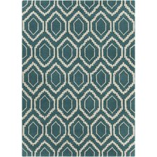 Davin Hand Tufted Rectangle Contemporary Blue/Cream Area Rug