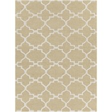 Davin Hand Tufted Rectangle Contemporary Yellow/Cream Area Rug