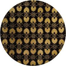 Alma Hand Tufted Round Contemporary Black/Gold Area Rug