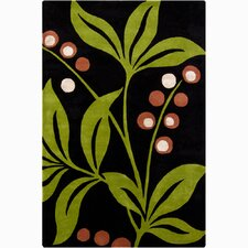 INT Dark Green/Lime Floral Area Rug
