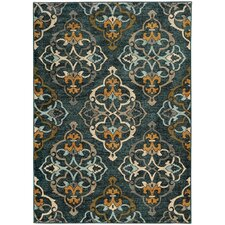 Agave Oranate Quatrefoil Blue & Gold Area Rug