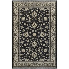 Paula Bordered Traditional Charcoal/Ivory Area Rug