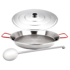 3-Piece Paella Pan Set with Lid