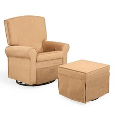 Square Back Upholstered Reclining Glider and Ottoman