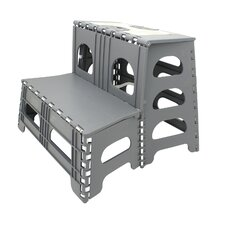 Folding 2-Step Plastic Step Stool with 300 lb Load Capacity