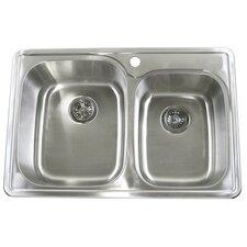 "33"" x 22"" Double Bowl Kitchen Sink"