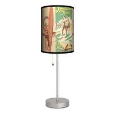 """Sports Surfing Hawaiian Tours 20"""" H Table Lamp with Drum Shade"""