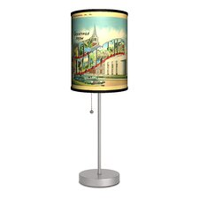 "Travel New Hampshire Postcard 20"" H Table Lamp with Drum Shade"