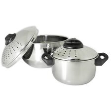 Stainless Steel Pasta Pots with Locking Lid (Set of 2)