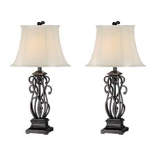 "Elegant Scroll 32.5"" H Table Lamp with Bell Shade (Set of 2)"