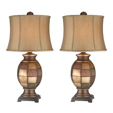 "Mosaic Textured 31.5"" H Table Lamp with Oval Shade (Set of 2)"