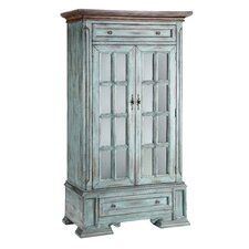Painted Treasures 2 Drawer Moonstone Tall Cabinet