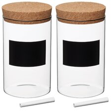 Natural Elements Glass Medium Storage Canister (Set of 2)