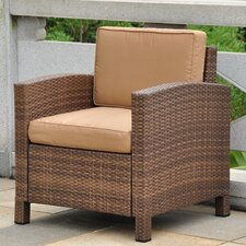 Barcelona Wicker Resin Aluminum Contemporary Patio Chair with Cushion