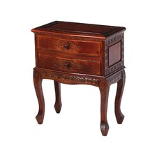 Carved Wood 2 Drawer Nightstand