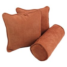 3 Piece Microsuede Throw and Bolster Pillow Set (Set of 3)