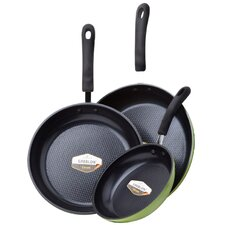 3 Piece Green Earth Frying Pan Set