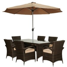Sienna 8 Piece Patio Set with Umbrella and Cushions