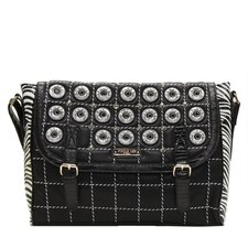 Minerva Zebra Quilted Embellished Messenger Bag