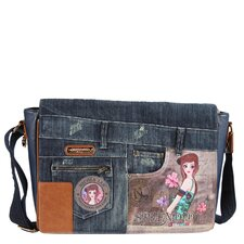 Wanda Denim Tina Print Computer Messenger Bag