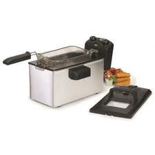 Gourmet 3.31 Liter Stainless Steel Immersion Deep Fryer with Timer